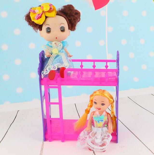 juego infantil casa miniatura toys doll accesorios diy montaje de plstico cama litera para kelly mueca