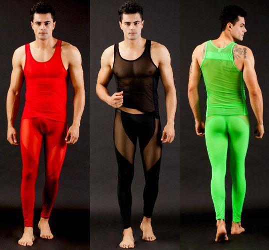 Бесплатная доставка мужская Прозрачный ультра-тонкий плотный пижамы набор жилет + брюки мужской случайные гостиная Сексуальные пижамы 122906