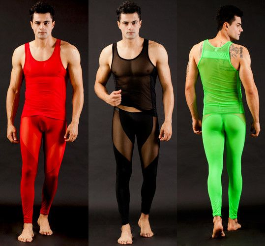 Free shipping Men's Transparent ultra-thin tight sleepwear set vest+pants male casual lounge Sexy pajamas 62806