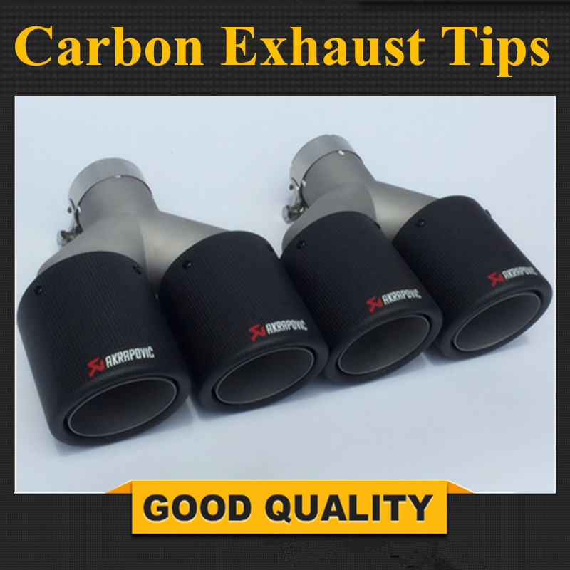 Twin Outlet Akrapovic Carbon Fiber Exhaust End Tips Car Exhaust Muffler pipe For BMW/Audi/Honda/Toyota/Mazda/Lexus Accessories