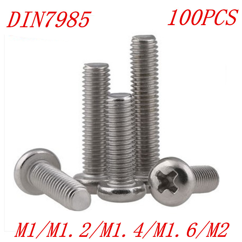 100pcs M1 M1.2 M1.4 m1.6 M2 DIN7985 Stainless Steel Cross Recessed Pan Head Screws Phillips Screws