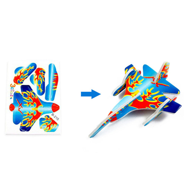 10pcs Montessori 3D Aircraft Models Cardboard Jigsaw Airplane Model Building Kids Toys for Children Funny DIY Toys Random Color 3