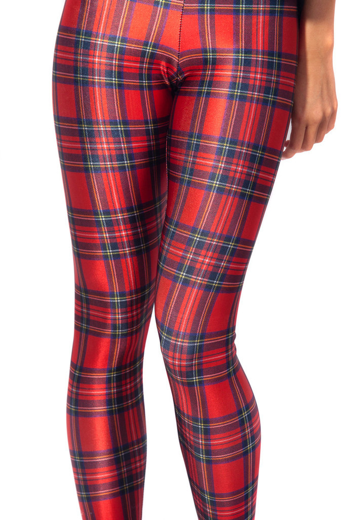 Red Plaid Women's Sexy Slim Leggings S To 4xL Plus Size Fitness Green Multi Color Plaid Full Length Pants 5 Patterns
