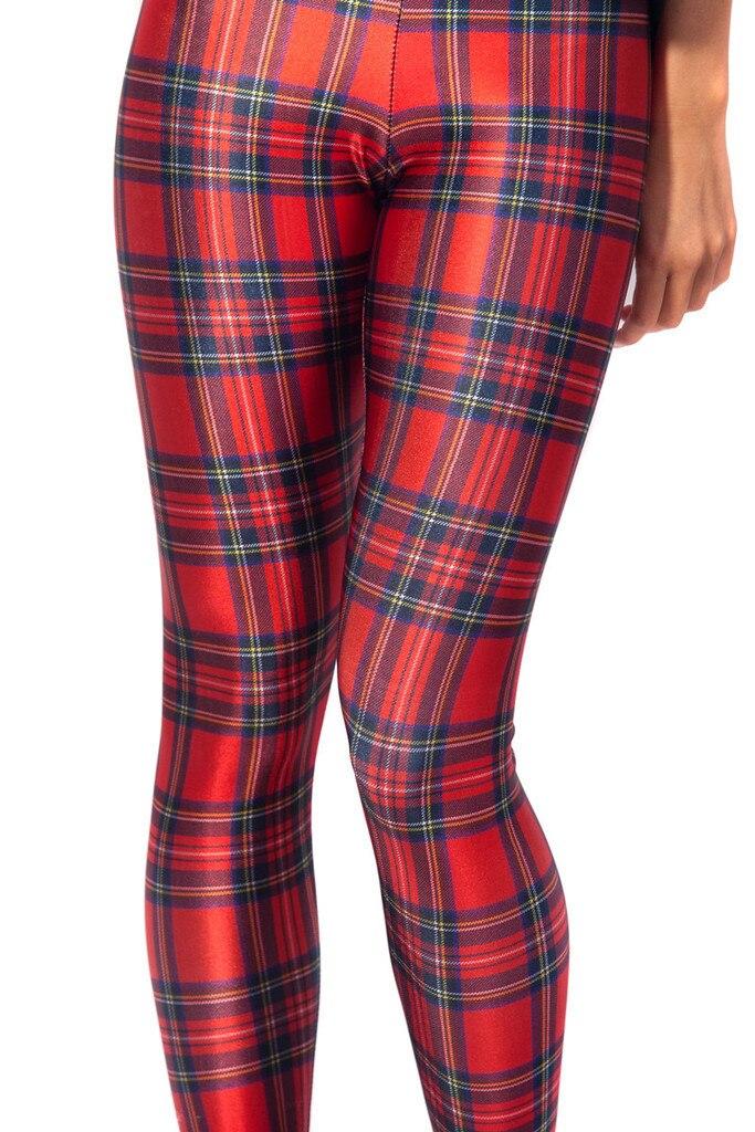 Rouge Plaid femmes Sexy Leggings minces S à 4xL grande taille Fitness vert Multi couleur Plaid pleine longueur pantalon 5 modèles