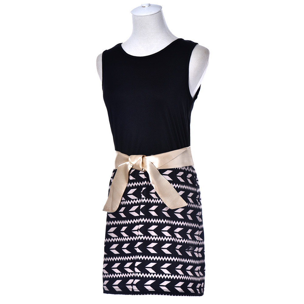Womens Sexy Printing Dress Ladies Bodycon Cocktail Party Dress NEW 2017 Summer O-neck Sleeveless Mini Dress W712