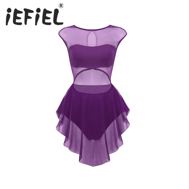 Robe asymétrique sans manches découpée devant, maille asymétrique, pour le Ballet, justaucorps, gymnastique, vêtements de performance pour le Ballet