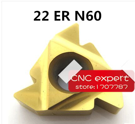 Free shipping 10pcs 22ER N 60 Threaded Inserts Indexable Tungsten Carbide Threading Lathe Inserts for Threaded