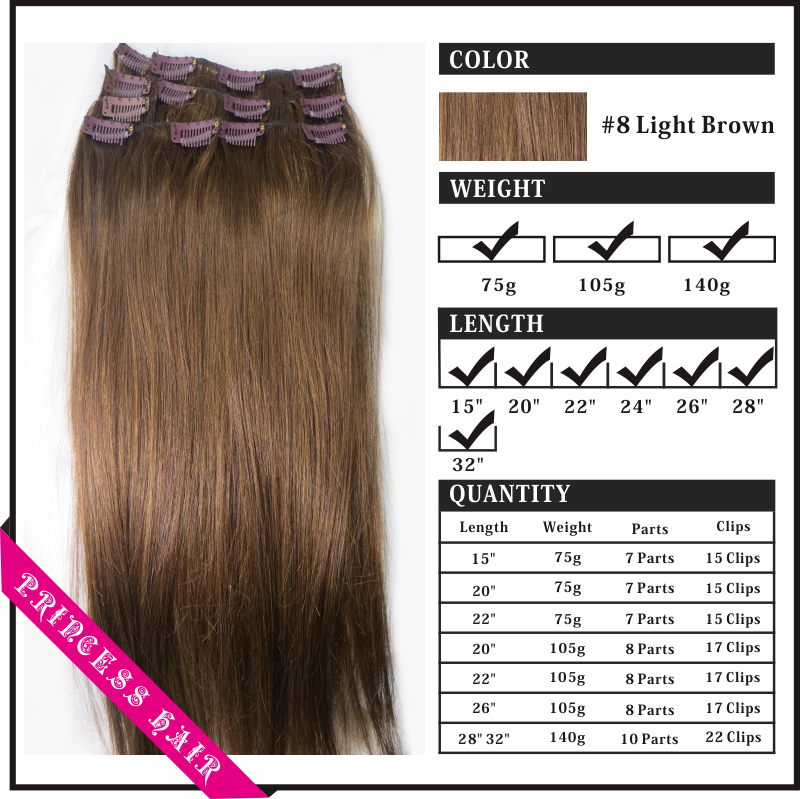 New 22″ 28″ 32″ Women Remy Human Hair Straight Clips In Extensions Wholesale 10Pcs/set 140g Light Brown #8