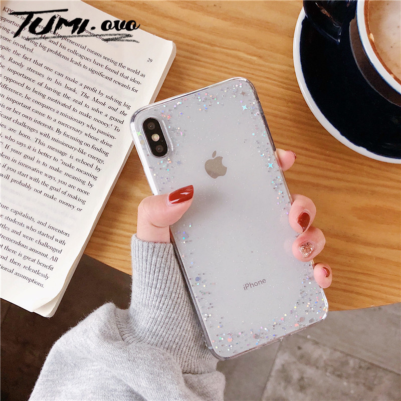 Simple Transparent Star Bling Glitter Back Phone Cover For <font><b>iPhone</b></font> 6 6S <font><b>7</b></font> 8 Plus X Xr Xs Max Soft TPU Phone Case Silicon Cover image