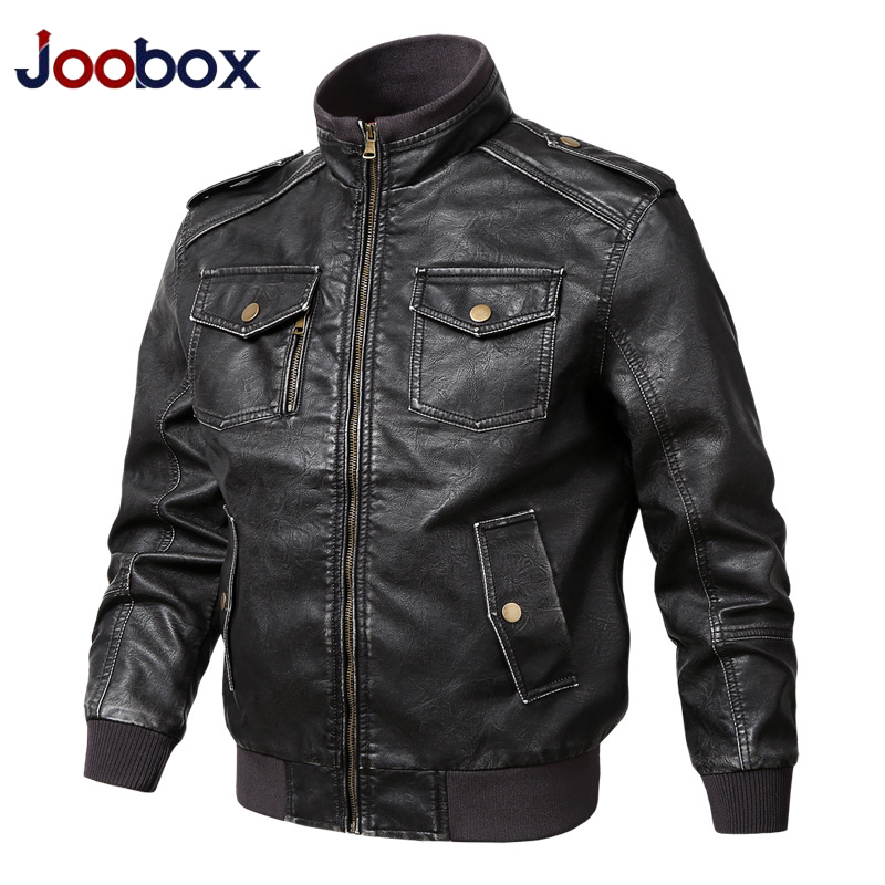 2019 luxury Leather Jacket Men Autumn Outwear Motorcycle PU Leather Jackets and Coats Vintage Military Overcoats M-5XL black(China)