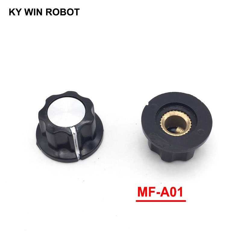 5pcs/lot MF-A01 A01 Potentiometer Knob Cap Inner 6mm 20x12mm Rotary Switch Bakelite copper core inner for WHT118 WX050
