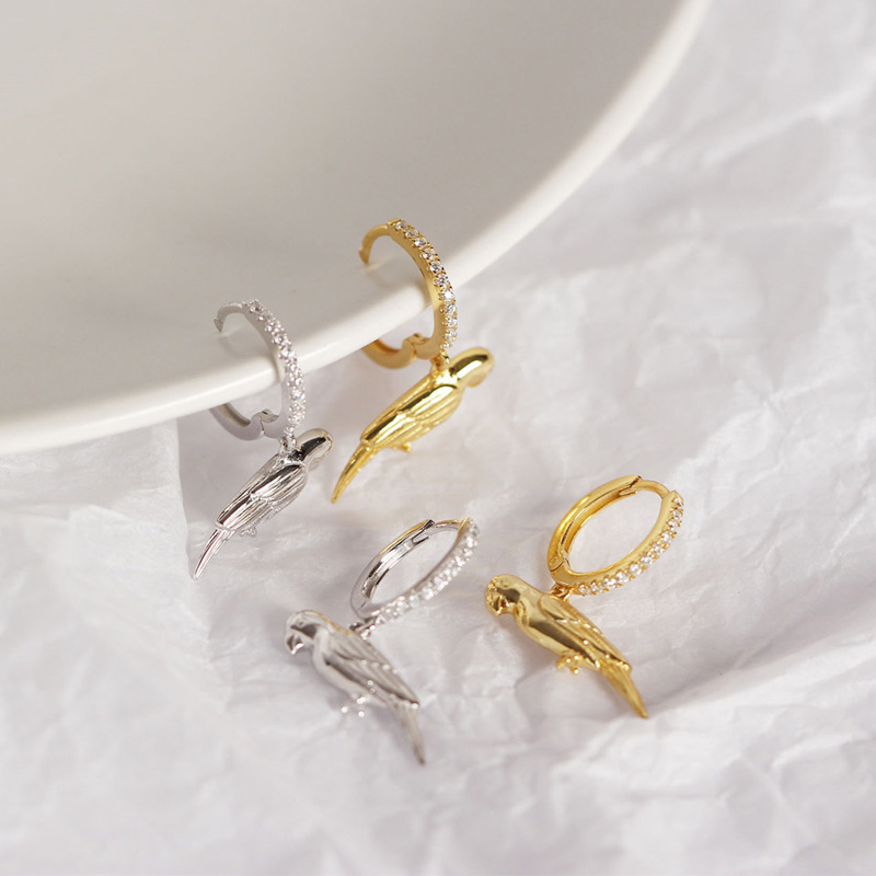 Authentic 925Sterling Silver Jewelry Vintage Lovely Animal Bird Hoop With AAA Zircon Earrings Classic Brincos Gift Drop Free in Earrings from Jewelry Accessories