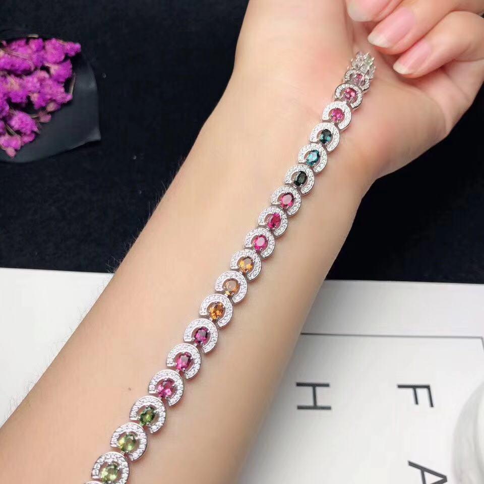 925 bracelets en argent sterling tourmaline naturelle nouveaux bijoux fins femmes de mariage à la mode en gros fête nouveau