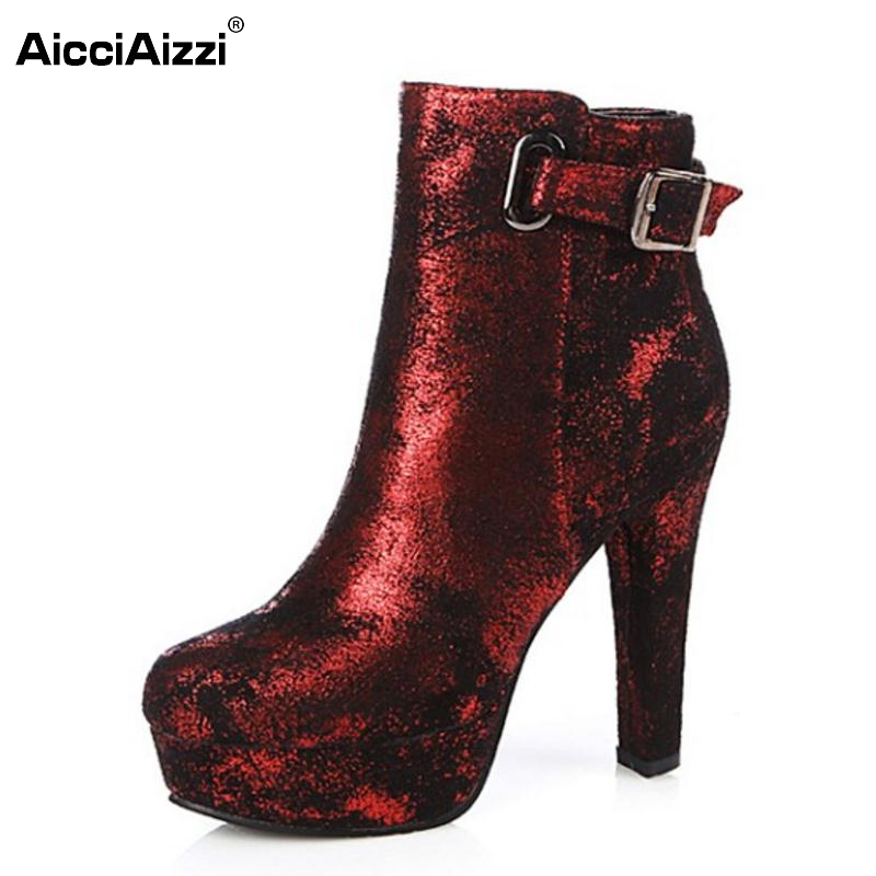 все цены на New Fashion Women Round Toe Platform Ankle Boots Woman Sexy Buckle High Heel Shoes Ladies Brand Zipper Heels Botas Size 34-43