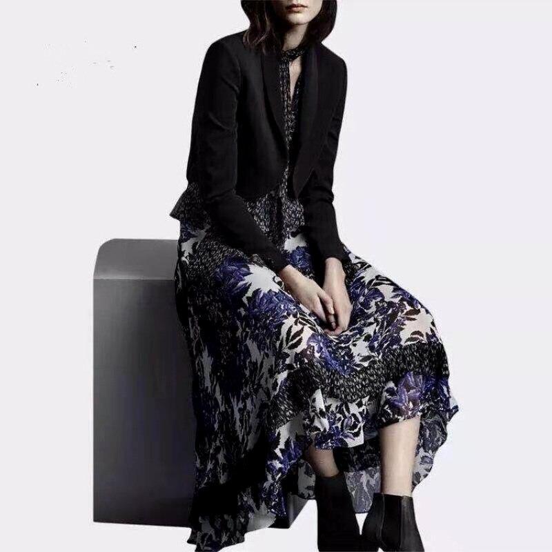 2 Stück Frauen Kleid Anzüge V-ausschnitt Lange Rüschen Vintage Retro Blumen Druck Kleid Und Gespleißt Schwarz Blazer Arbeit Tragen Anzug Ns134 Durchblutung Aktivieren Und Sehnen Und Knochen StäRken