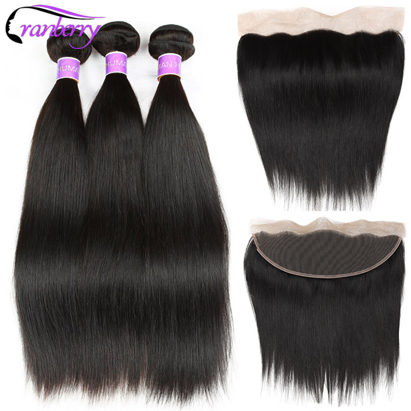 CRANBERRY Hair Brazilian Straight Hair Bundles With Frontal 3Pcs Remy Human Hair Bundles With Closure Lace