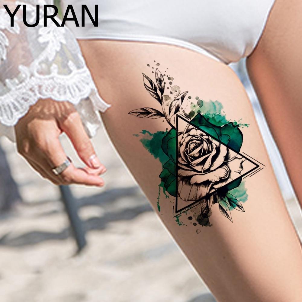 3D Temporary Tattoos Stickers Women Body Legs Sexy Geometric Rose Tatoos Fake Lotus Girls Arm Flower Tattoo Water Transfer Paste