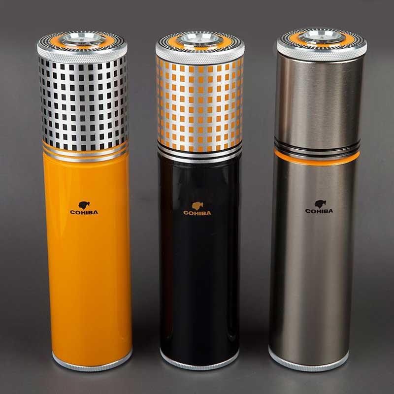 COHIBA Gadgets Sarı & Siyah & Gümüş Alüminyum Alaşım Seyahat Puro Tüp Taşınabilir Kavanoz MINI Neme W/Nemlendirici Higrometre