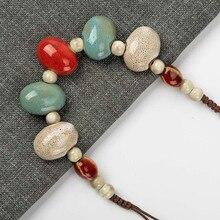 В форме булыжника, керамическое богемное ожерелье из бисера, кулон, винтажные ожерелья, классический стиль, ювелирные изделия# GY517