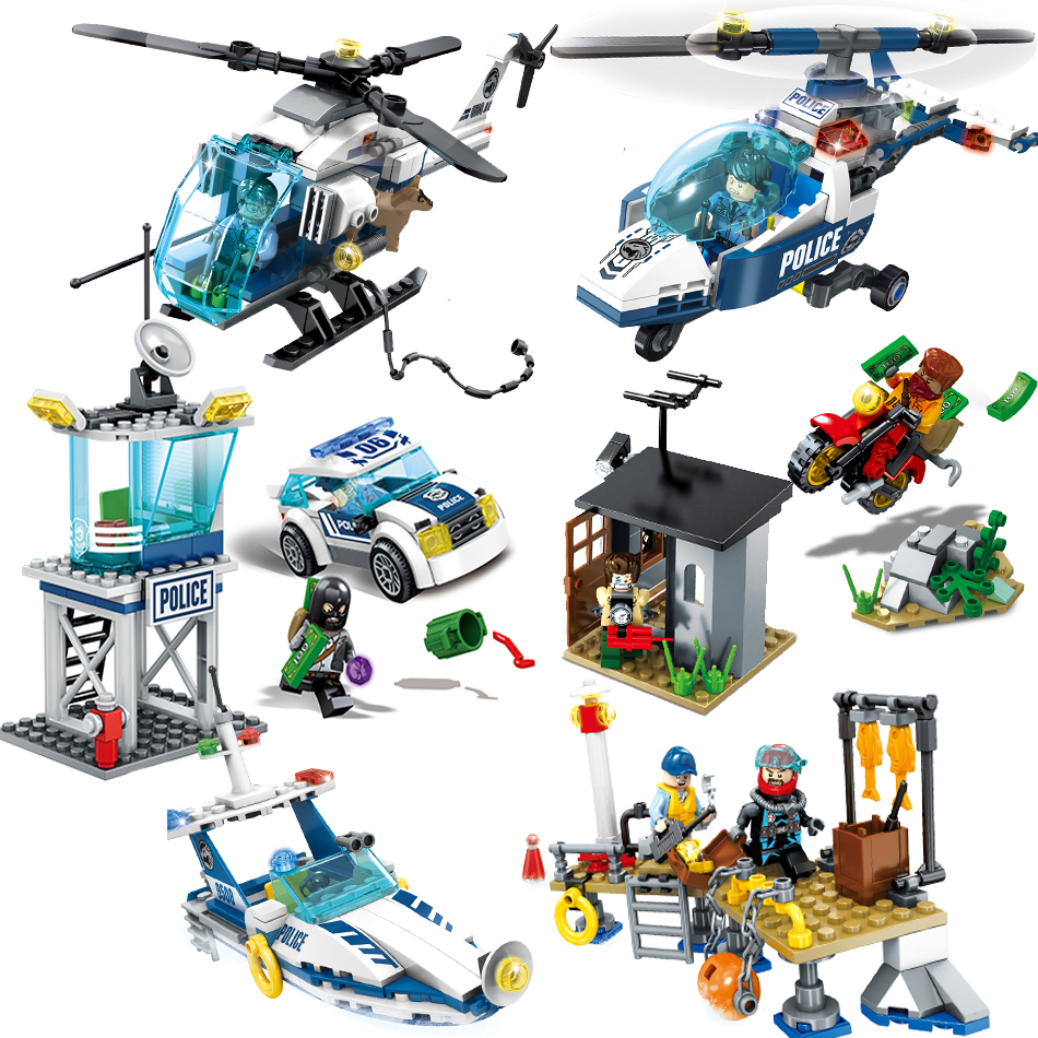 753PCS Police Station Helicopter Car Construction Model Figures Compatible Legoed City Buildings Blocks Bricks Set Toys For Boys police pl 12921jsb 02m
