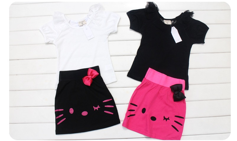 Spring Summer Baby Girls Cartoon Cat Suits Children 2Pcs Sets T-shirts+ Black Dress with Flower TShirt Girls Clothing Set Dress