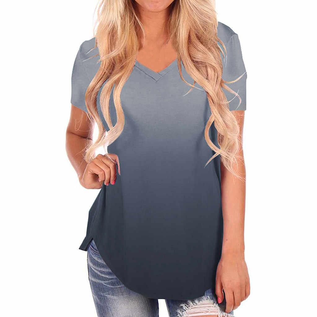 Женская футболка размера плюс, модная летняя футболка 2019 с v-образным вырезом, градиентная цветная уличная Повседневная футболка, свободная женская футболка