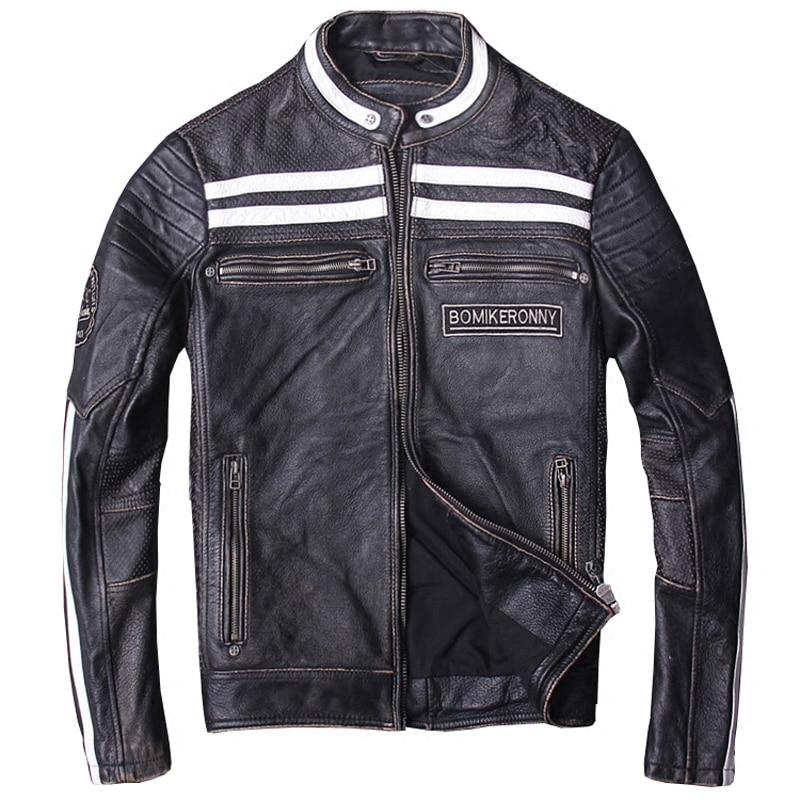 HARLEY DAMSON Vintage Black Men Bikers Leather Jacket Plus Size XXXL Real Cowhide Slim Fit Russian Motorcycle Leather Coat