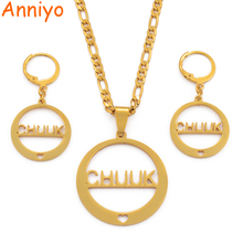 Anniyo CHUUK Pendant Necklaces Earrings sets for Women Gold Color Jewelry Party as Gifts (CANNOT CUSTOMIZE)  #034621