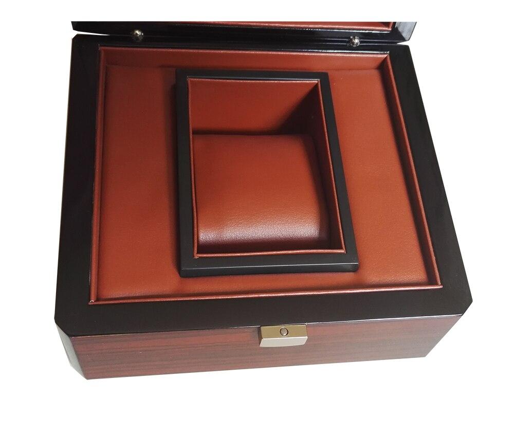 Boîte de montre en laque brillante à rayures en bois et étuis boîte de Promotion personnalisée bijoux cadeau boîtes d'affaires LOGO personnalisé livraison directe WB1011 - 4