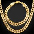 Homens Jóias 9 MM Pulseira Conjunto de Colar Banhado A Ouro Big Chunky Declaração Cadeia de Jóias Set 2016 Nova NH1949