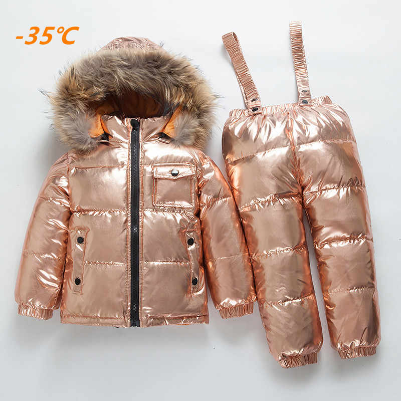 71c3489b8fb8 Girls Winter Warm Real Fur Collar Hooded Clothing Sets Children White Duck  Down Waterproof Clothing Set