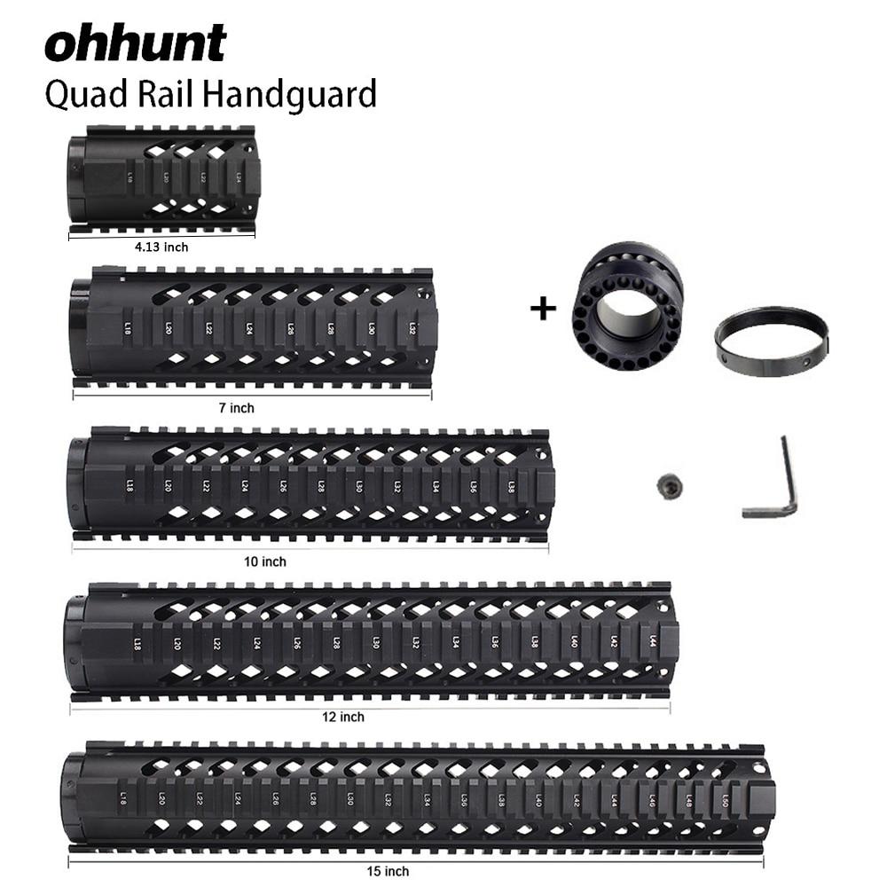 "Ohhunt Tactical 4"" 7"" 10"" 12"" 15"" Free Float Quad Rail Handguad M4 AR15 M16 Rail Mount Picatinny Rail Type Handguard RAS"