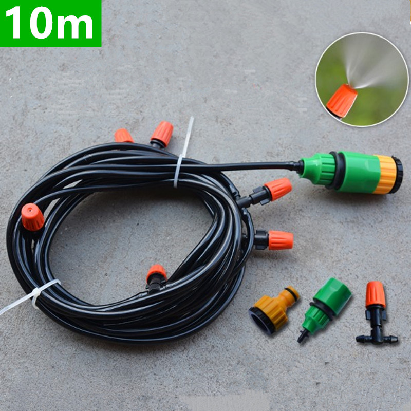 10m Automatic Watering Micro Drip Irrigation System Garden Self Watering Kits With Adjustable Dripper Fog Nozzle Irrigation BW04