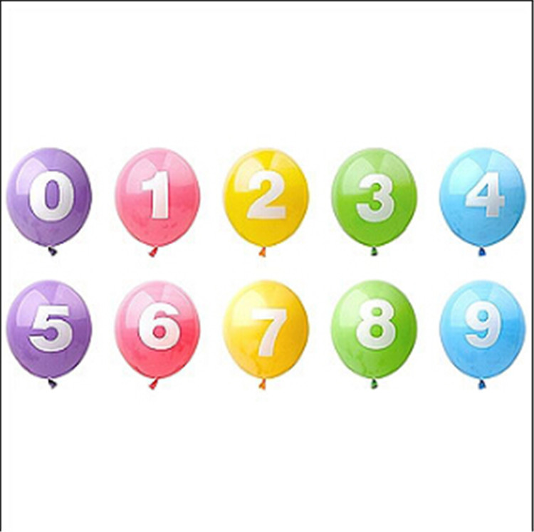 60pcs/lot 12inch 0-9 number printed balloon birthday balloons decoration supplie