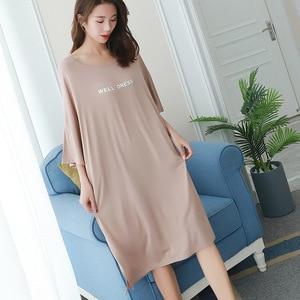 Image 5 - 2019 summer plus size home casual dress women letter print sleepdress cotton short sleeve strapless nightdress sleepshirts lady