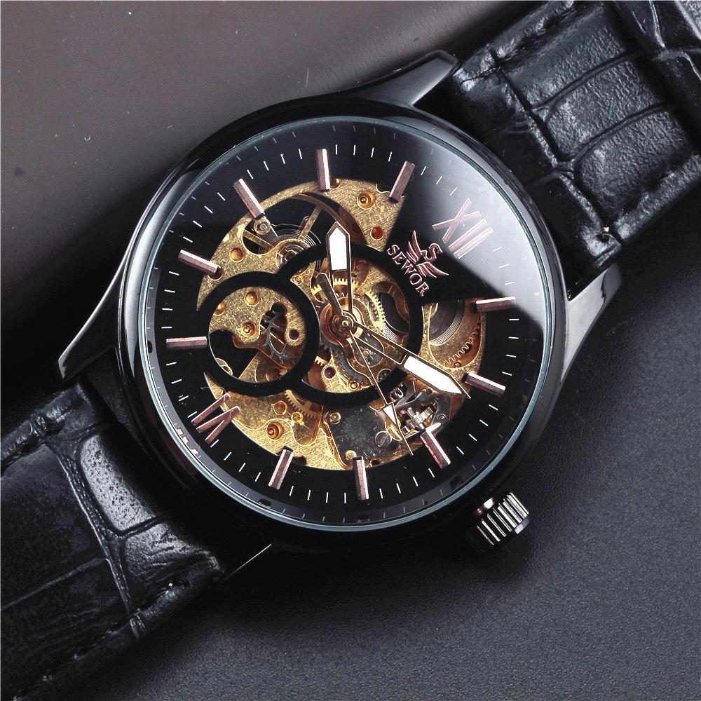 SEWOR superior Correa de cuero Esqueleto Hombres Reloj Acero Negro - Relojes para hombres - foto 5