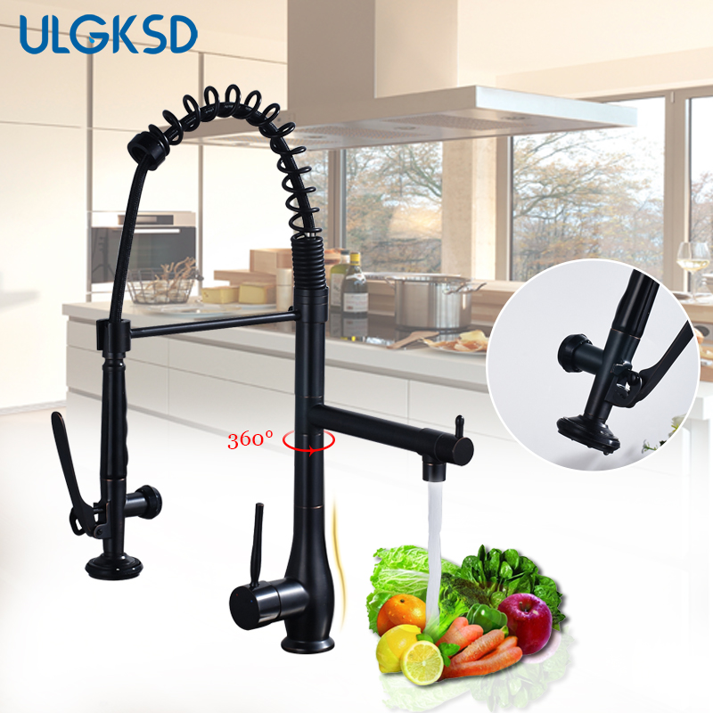 ULGKSD Kitchen Sink Faucet Black Brass Sprayer Nozzle Deck Supported Hot and Cold Mixer Tap Single Handle Vanity Sink Faucets ulgksd bathroom faucet dual switch deck mount hot and cold water mixer tap para vanity sink faucets mixing valve