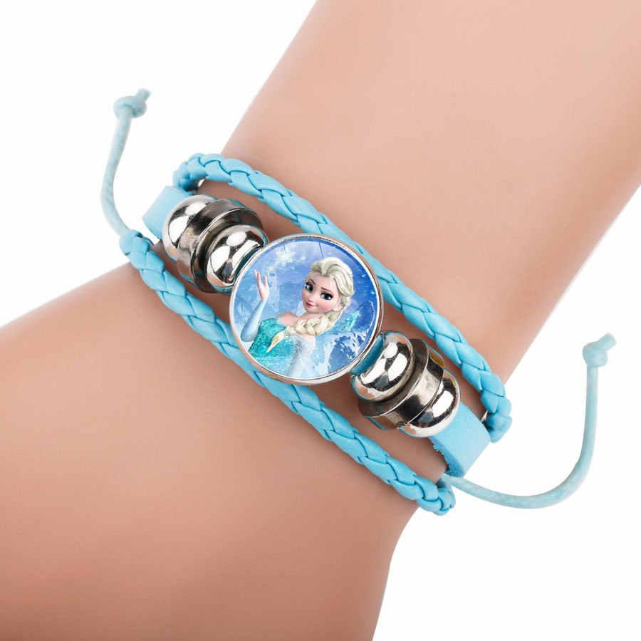2018 6 צבע אופנה חמוד Cartoon חרוזים ארוג בני בנות צמיד צמידי עבודת יד מתכוונן עור צמידי לילדים