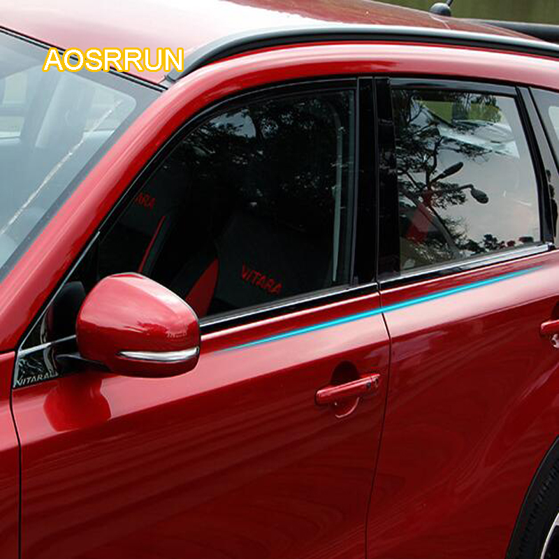 где купить AOSRRUN Stainless steel car Windows are decorated with stainless steel body Cover Car accessories For Suzuki vitara 2016 2017 по лучшей цене