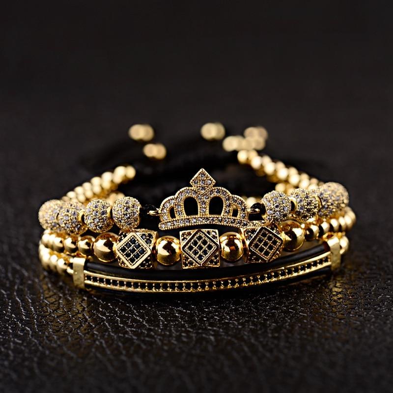 Роскошный браслет-Макраме с кубическим цирконием короной для мужчин и женщин, медный модный геометрический длинный ювелирный Комплект бра...
