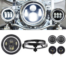 7 inch Led Headlight Hi Lo Beam with Bracket 4 5 Auxiliary Fog Spot font b