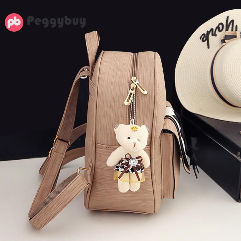 3pcs/Set Female Backpack Women PU Bags Tie Backpack Round Shoulder Crossbody Card Bag for Girls Students Bookbag School Bag