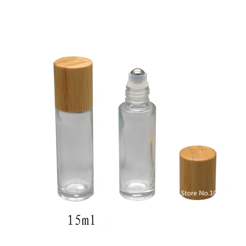 20pcs Bamboo Lid Cap Roll On Bottle Glass Roll On Bottles