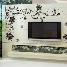 Black Butterfly Flower Vine Wall Stickers Home Decor Bedroom Living Room Wall Background Decorative Decals(China)