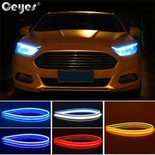 Ceyes автомобильный Стайлинг DRL Дневной ходовой светильник аксессуары Гибкая мягкая трубка направляющая автомобильная светодиодная лента белый синий красный сигнал поворота желтый