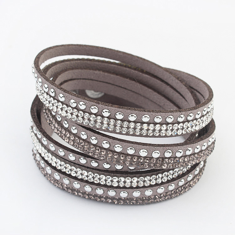 Hot Fashion Wrap Bracelets Slake Leather With Crystals Jewelry 6 Color To Choose Free Shipping In Chain Link From