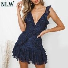 NLW Lace Ruffle White Women Party Dress Backless Red Beach Boho Dress Navy Blue Deep V Neck Short Sexy Dress Vestidos