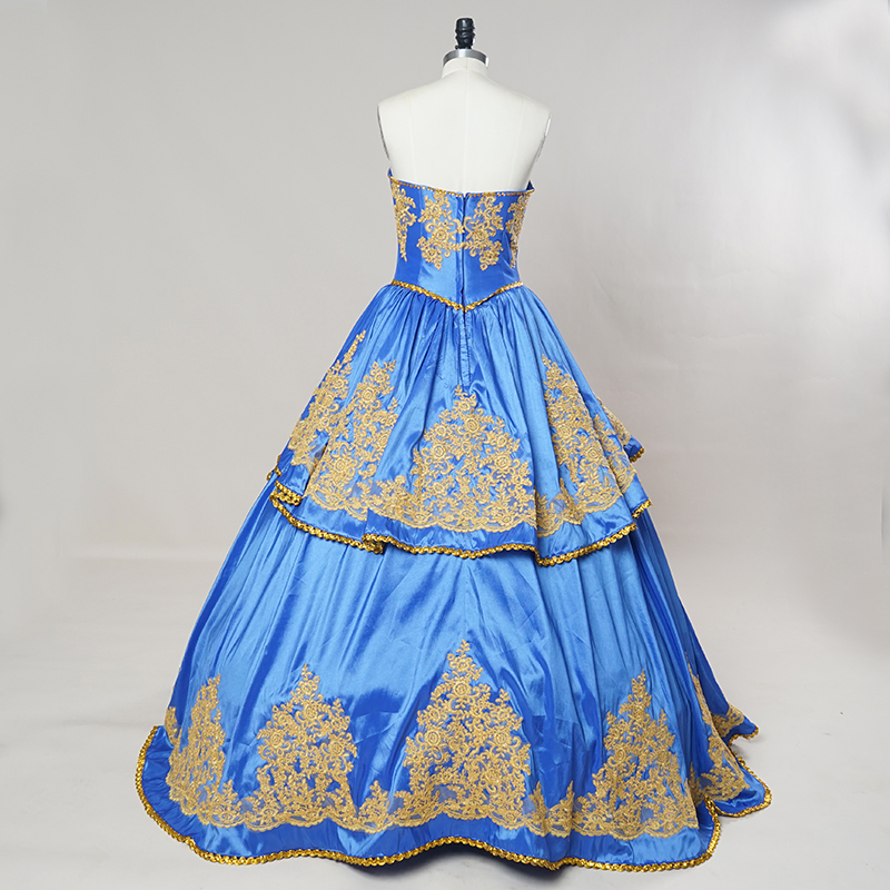 790a8fd9278d Luxury Royal Blue Gold Embroidery Quinceanera Dresses with Peplum 2017  Masquerade Ball Gown Sweety 16 Girls prom ball gowns-in Quinceanera Dresses  from ...