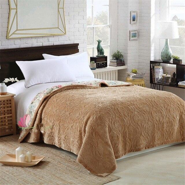 Autumn Embroidered fleece blanket Crystal velvet quilted bed cover soft  bedspread cobertor summer comforter bedding home