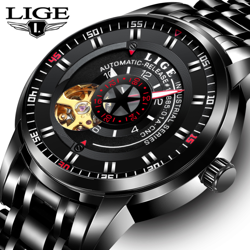 LIGE Brand Men's Fashion Business Automatic Watches Men leather Waterproof Sport Watch Man Black Clock relogio masculino saat 2017new lige luxury brand men sport waterproof quartz watch man fashion business watches men leather clock relogio masculino box